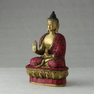 Buddha in bronzo decorato in corallo