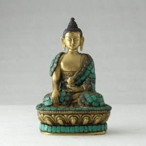 Buddha in bronzo decorato con turchese