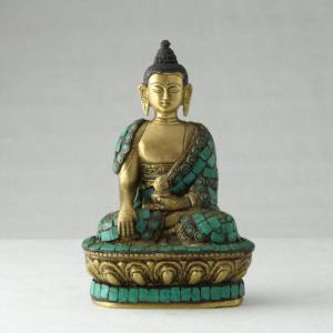 Buddha in bronzo decorato con turchese