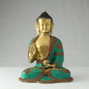 Buddha Medicina decorato con turchese e corallo